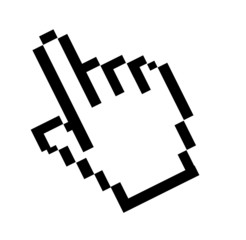 Computer mouse pointer hand over white background. Illustration