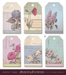 floral tags - set of 6 colorful collage designs