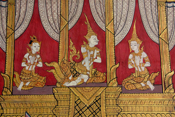 thai traditional artistic painted on the temple wall