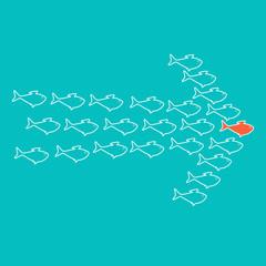 School of fish swimming in shape of arrow