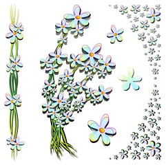 Fiori Elementi Decorazione-Set of Floral Page Ornaments-Vector