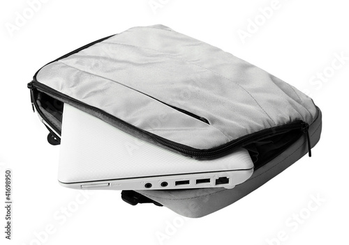 netbook in bag isolated on white