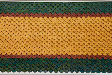 colourful tiles on temple roof