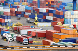 Fototapety sea container warehouse and truck