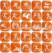 Set of orange sport icons