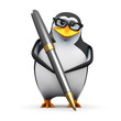 3d Penguin in glasses with black pen