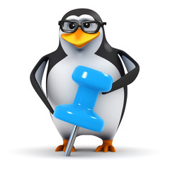 3d Penguin in glasses with blue tack