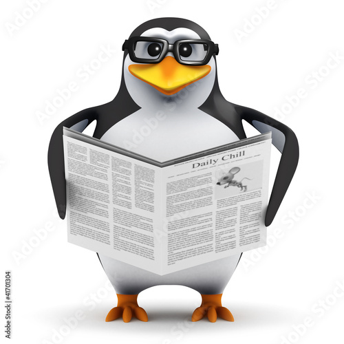 3d Penguin in glasses reads newspaper