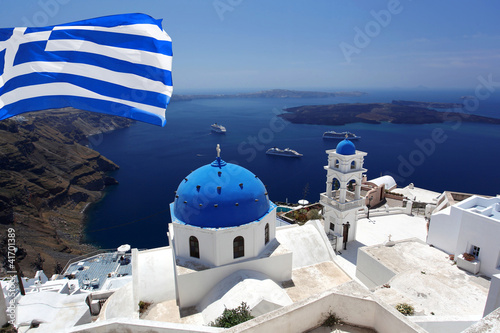 Santorini island with flag of Greece
