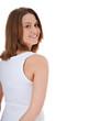 Attraktives Mädchen schaut über die Schulter