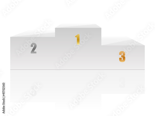 White podium with numbers. Vector illustration.