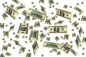 Money 100 dollars bills flying background