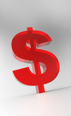 Big Dollar Symbol - Red Glas