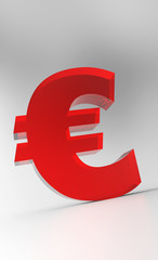 Big Euro Symbol - Red Glas
