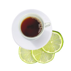cup of tea and fresh lime (lemon) slices isolated on white