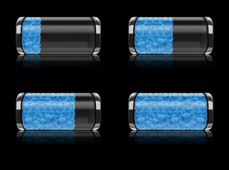 Battery icon set with bubbles vector format