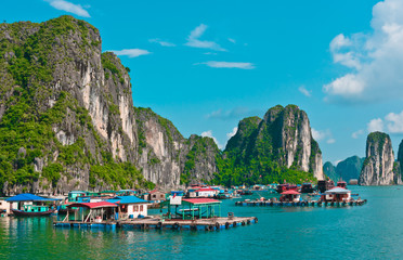 View of floating village in Halong Bay