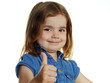 Cute little girl  shows  thumb up on white background