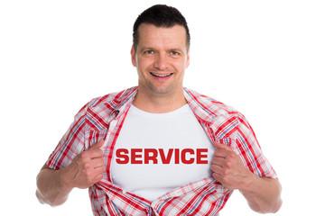 attraktiver mann bietet service an