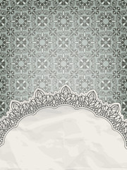 vector lacy frame for your text on seamless retro floral pattern