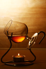Glass of hot cognac