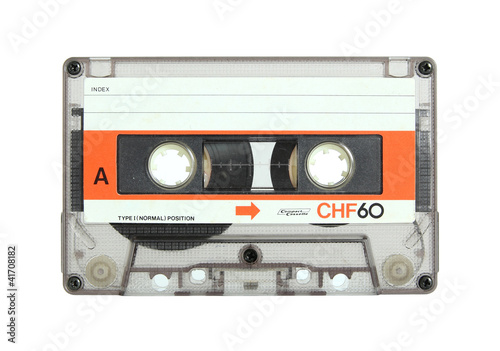 cassette tape isolated on white with clipping path - 41708182
