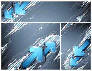 Abstract futuristic banners with blue arrows.