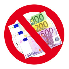 Schild: Keine Annahme von 100, 200 und 500 Euro Scheinen
