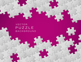 Fototapety Vector purple background made from white puzzle pieces