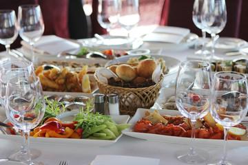Banquet table in restaurant