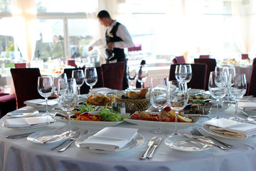 Banquet table in restaurant