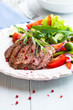 Grilled Beef Steak with Vegetable Salad