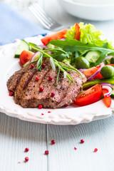 Grilled Beef Steak with Vegetable Salad