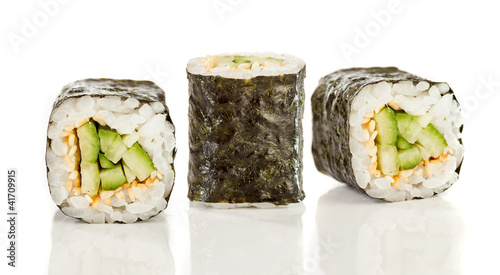 Sushi Roll (Kappa maki roll) on a white background