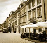 Fototapeta old town street, Warsaw, Poland - in sepia
