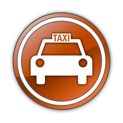 "Orange Glossy Button ""Taxi Cab"""