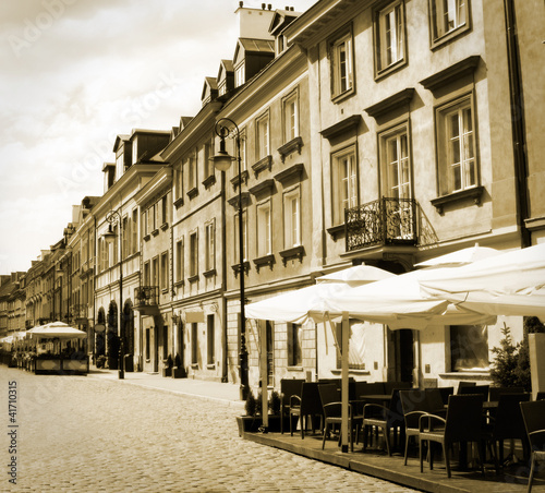old town street, Warsaw, Poland - in sepia