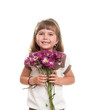 cute little girl holding the bunch of flowers