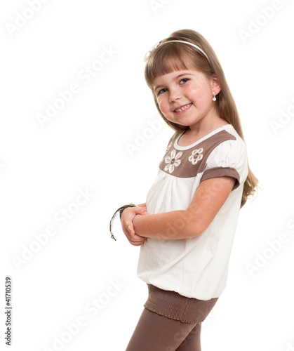 cute little girl posing in the studio