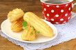 cake eclair profiteroles on a plate