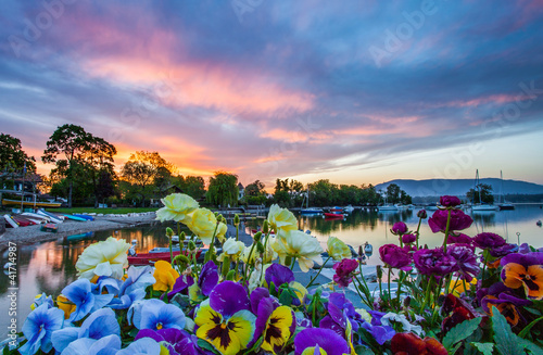 Boats, Flowers and Sunrise