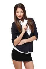 businesswoman with businesscard