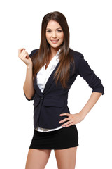happy businesswoman holding a blank businesscard