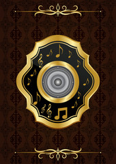 Kahverengi bitkisel desenli nostaljik müzik fonu