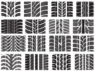 Set of various tyre treads