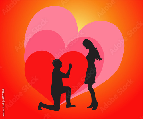 Love young couple getting engaged