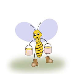 A bee with two buckets of honey.