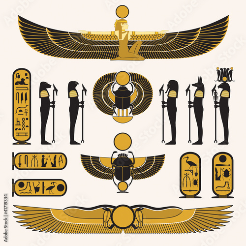 Ancient Egyptian symbols and decorations