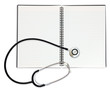 isolated notepad and stethoscope