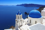 Fototapety Santorini with Traditional Church in Oia, Greece